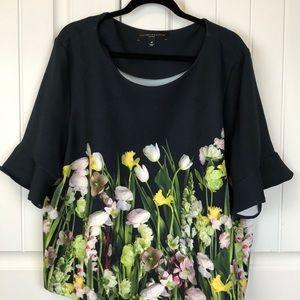 Floral flounce sleeve top